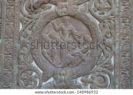 Detail of the St Denis Basilica door - Saint-Denis - France - stock photo