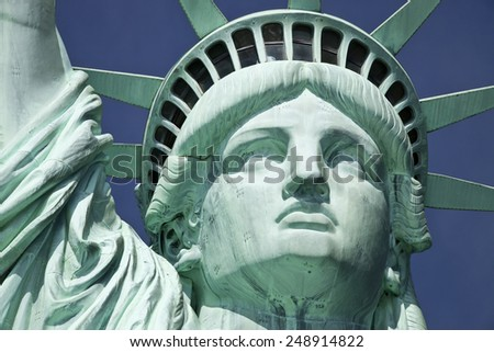 Detail of the Statue of Liberty on Liberty Island at New York City. - stock photo