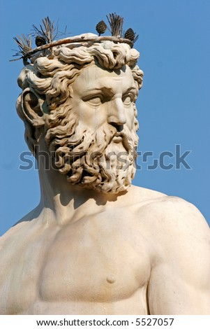 Detail of the statue of Neptune, part of the fountain on Piazza della Signoria in Florence, Italy. - stock photo
