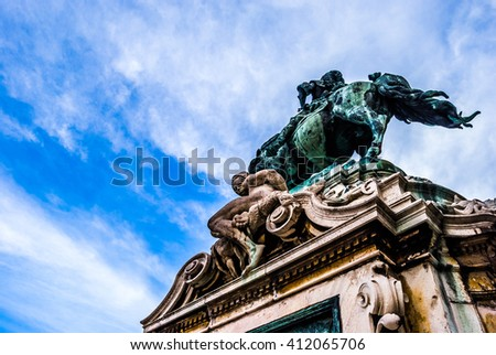 Detail of the statue of Savoyai Eugen in front of main facade of the historic Royal Palace - Buda Castle in Budapest, Hungary. - stock photo