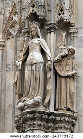 detail of the statue on the St. Stephen's Cathedral in  vienna - stock photo