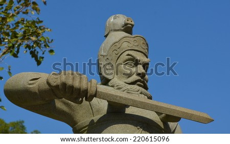 Detail of the statue situated on the lantau island between po lin monastery and tian tan buddha. - stock photo