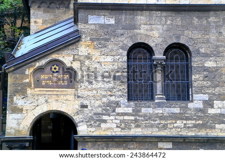 Detail of the street facade of Ceremonial Hall from old Jewish Quarter (Josefov), Prague , Czech Republic - stock photo