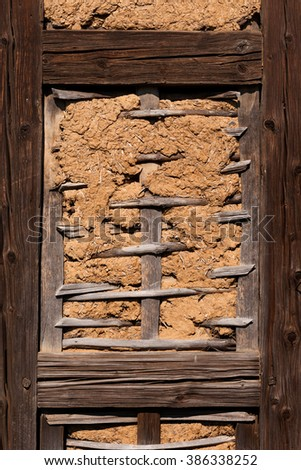 Detail of the structure of an old half-timbered house - stock photo