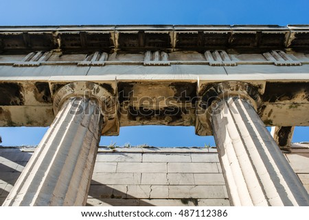 Detail of the temple of Hephaestus in Ancient Agora, Athens, Greece