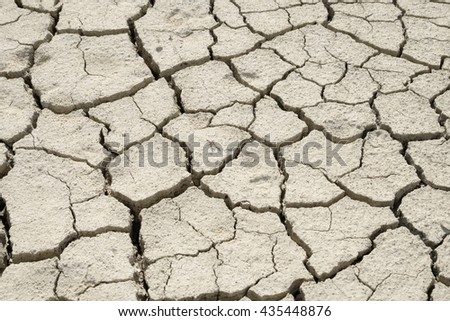 Detail of the texture of the soil cracked by drought - stock photo