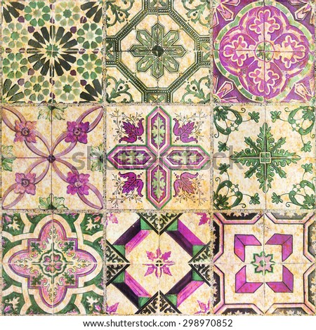 Detail of the traditional Decorative tiles - stock photo