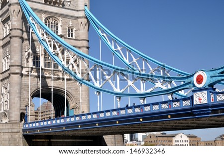 Detail of Tower Bridge over the River Thames, London, UK. - stock photo