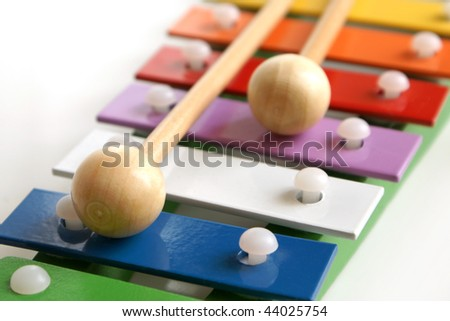 Detail of toy colorful xylophone