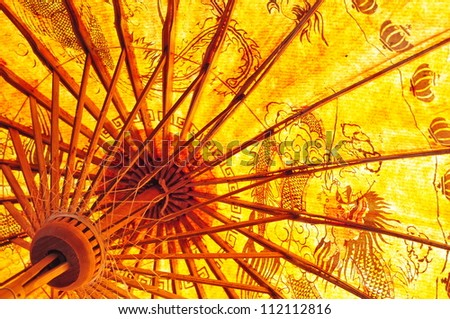 Detail of traditional Chinese umbrella - stock photo