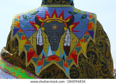 Detail of traditional Native American Pow Wow dress.  A pow-wow is a gathering and Heritage Celebration of North America s Native people - stock photo