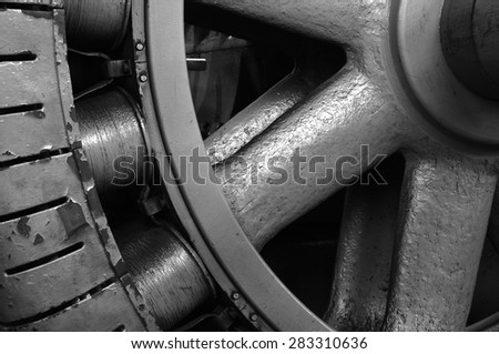Detail of turbine at Faraday hydroelectric powerhouse near Estacada, Oregon.  - stock photo