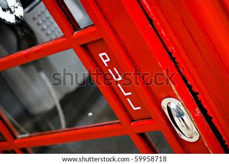 Detail of UK public telephone box - stock photo