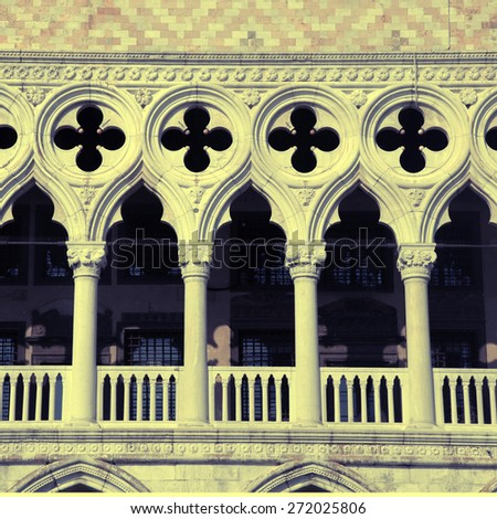 Detail of venetian gothic architecture on The Doge's Palace (Italian Palazzo Ducale) balustrade, Venice, Italy. Square toned image, instagram effect - stock photo