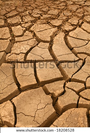 Detail of very dry soil - stock photo
