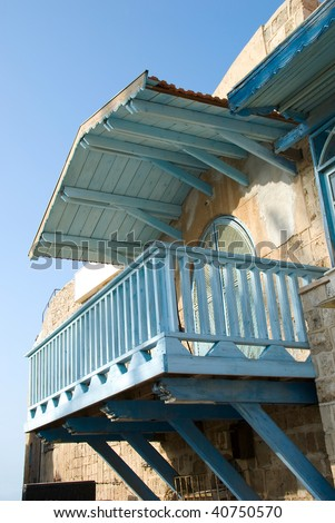 Detail of vintage balcony in typical old Jaffa (Israel) - stock photo