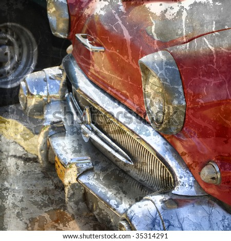 Detail of vintage classic american car detail with grunge texture - stock photo