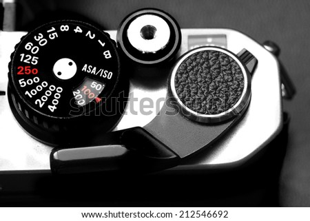 Detail of vintage old film Camera for photography creativity - stock photo