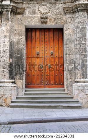 Detail of vintage wooden door in Old Havana Cathedral - stock photo