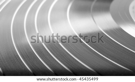 Detail of Vinyl record music recording support - (16:9 black and white)