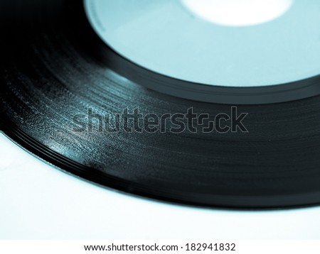 Detail of vinyl record (music recording support) - cool cyanotype