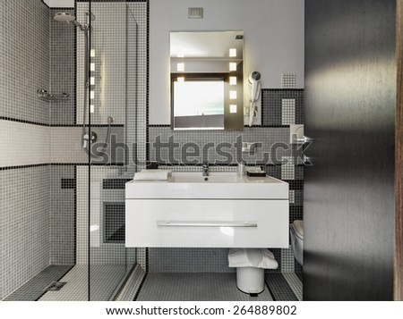 detail of washbasin in the modern bathroom - stock photo
