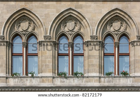 Detail of windows of Rathaus (city hall) in Vienna (Wien)