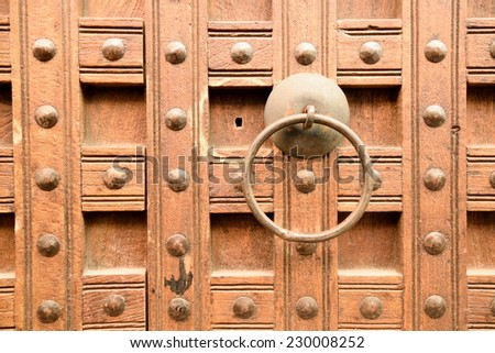 Detail of wooden door with handle