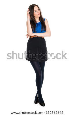 Detail of young attractive brunette playing with her hair, isolated on white background - stock photo