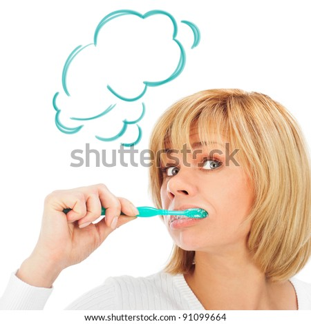 Detail portrait of a happy and wondered mature woman brushing her teeth isolated on white background with copyspace. Cloud balloon overhead - stock photo