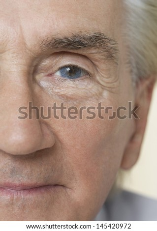 Detail portrait shot of a senior man's face with blue eye - stock photo