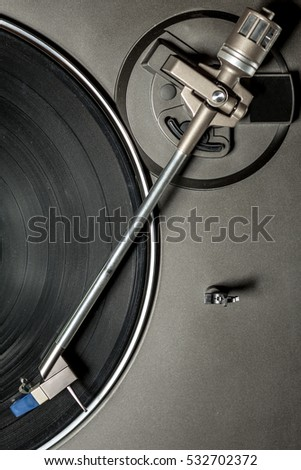 Detail record player with vinyl record