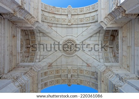 Detail seen from under the iconic Triumphal Arch  in Commerce Square, Praca do Comercio or Terreiro do Paco, Lisbon Baixa District (Downtown) - stock photo