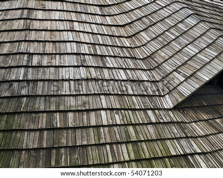 detail shingle roof cladding on historical barn in czech village - stock photo