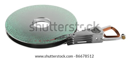 detail shot of a separated hard disk platter with actuator arm in white backAllegory theme around data processing - stock photo