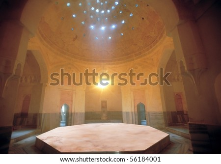 detail shot of an inside of Turkish hammam