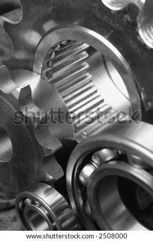 detail-shot of gears and bearing in black and white