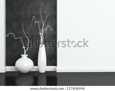 Detail shot of modern black and white living room furniture. Interior design. - stock photo
