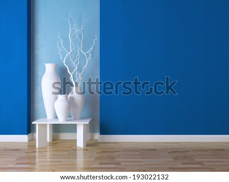 Detail shot of modern living room wall. Luxury interior design, vases on the table. - stock photo