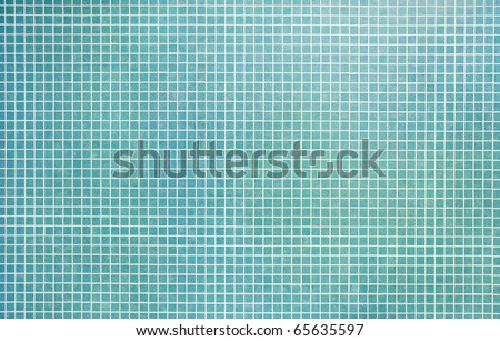 detail shot of turquoise mosaic tile structure - stock photo