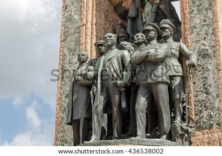 Detail showing Kemal Ataturk the statesman on one side of the Republic Monument, on public display in Taksim Square, Istanbul since 1928.  Mikhail Frunze and Kliment Voroshilov are among the group. - stock photo