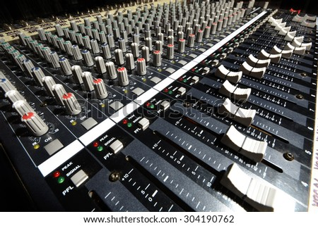 detail sound mixer in natural light with great perspective - stock photo