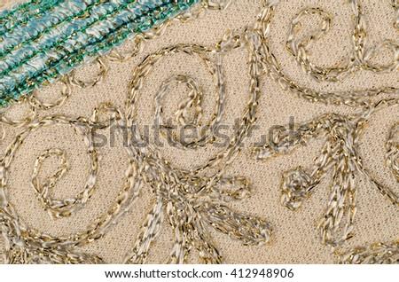 Detail take of beautiful handmade embroidery - stock photo
