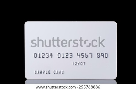 Detail Textured Credit Card on black close up - stock photo