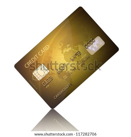 Detail Textured Credit Card on white (Elements of this image furnished by NASA - map derived from  http://visibleearth.nasa.gov) - stock photo