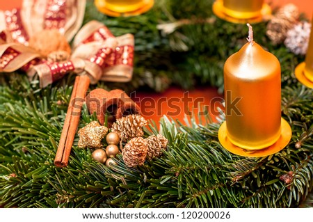 detail view of advent wreath on the table - stock photo