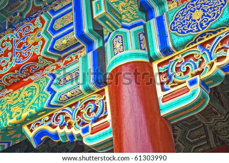 detail view of chinese old palace, with colorful details of wooden facade - stock photo