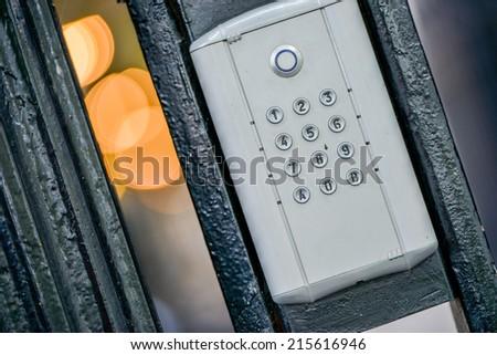 Detail view of door intercom - stock photo