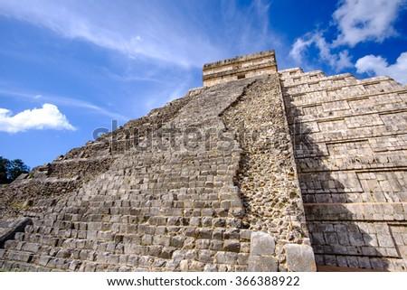 Detail view of Mayan pyramid El Castillo in Chichen Itza ruins, Mexico - stock photo