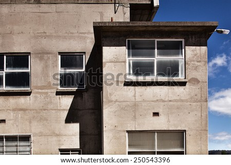 Detail view of old industrial architecture with interesting patterns and shapes - stock photo
